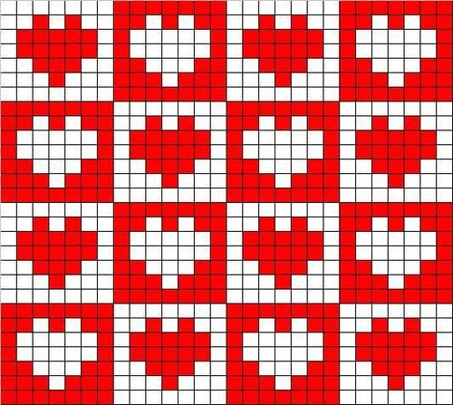 filet crochet heart pattern free