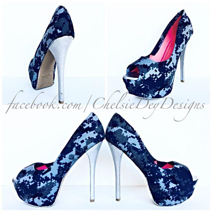 Navy High Heels - Military Blue Fatigue Digital Camo Canvas Pump High Heels - U.S. Navy Digi Wedding Shoes - pinned by pin4etsy.com