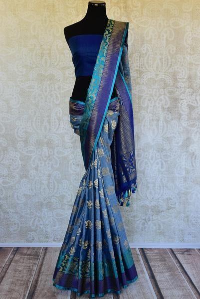 90D213 Silk Benarasi Saree With Multiple Hues of Blue
