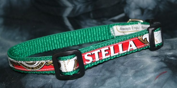 Adjustable Cat or Toy Dog Collar from Recycled Stella Beer Labels by squigglechick on Etsy