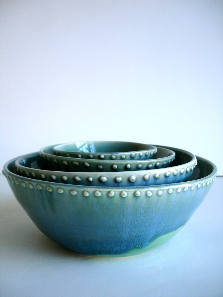 Handmade Wheel Thrown Stoneware Nested Bowls Set - Dots. $125.00, via Etsy.