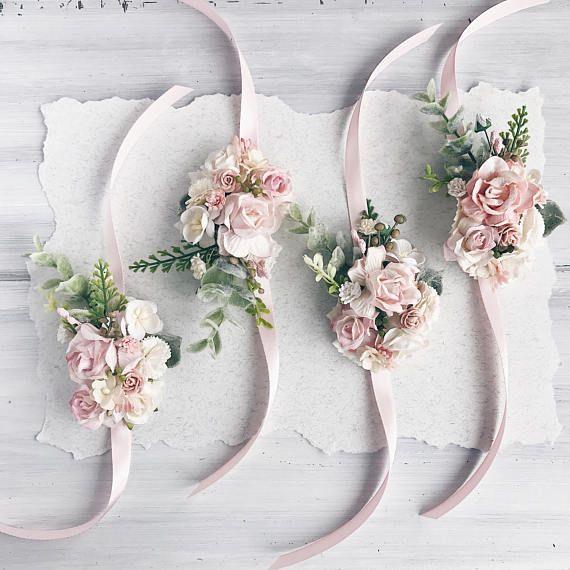 Blüpperosa Flower Handgelenk Korsage, Rosenquarz Braut Armband, Brautjungfer Korsage, Braut-Handgelenk Korsage, Hochzeiten