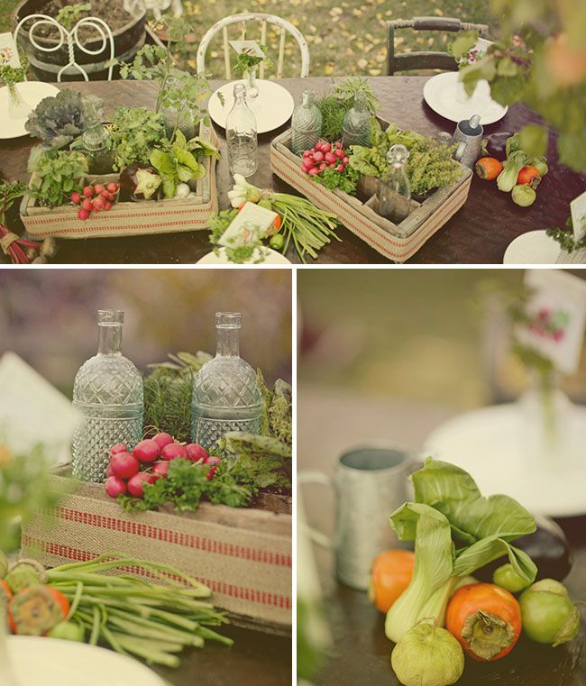 Now this is a centerpiece. Showcasing garden goodies such as vegetables and greens is a nice to way to beautify any tablescape.