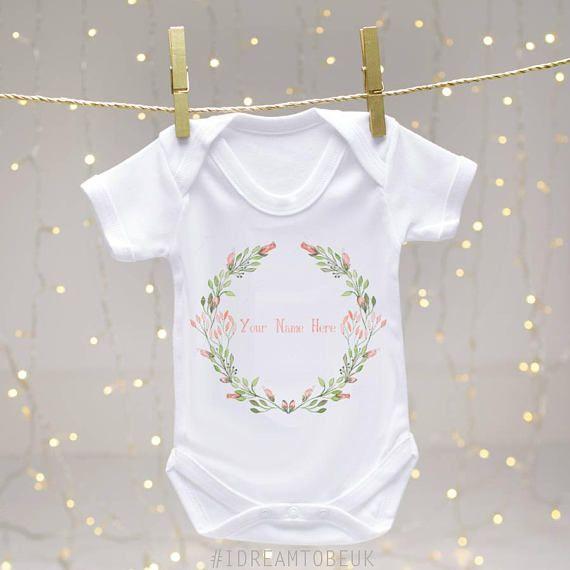 Rosebud personalised baby vest  baby bodysuit baby shower