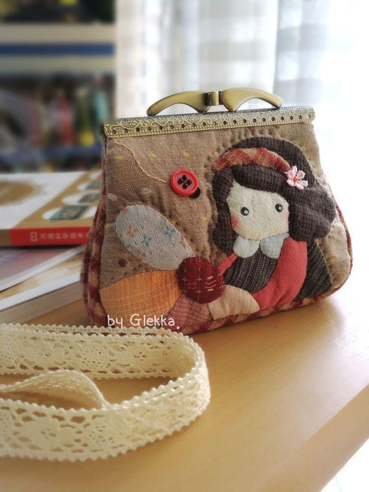 Coin purse/quilt applique/Handmade coin purse /Handmade by Glekka.