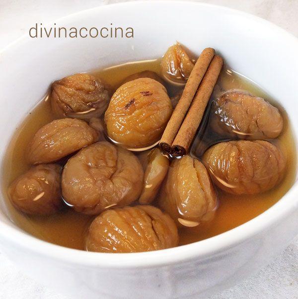 Estas castañas en almíbar son muy fáciles de preparar y se conservan mucho tiempo en su propio almíbar en un recipiente hermético.