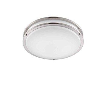 "Designers Fountain EV1410LED-BN Low Profile LED Flush Mount Ceiling Lighting Fixture, 10"", Brushed Nickel/White"