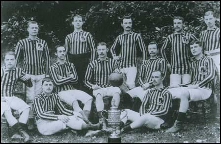 The Aston Villa 1887 FA Cup-winning side. Back row (left to right): Frank Coulton,James Warner, Fred Dawson, Joe Simmonds, Albert Allen. Middle row: (left to right):Richmond Davis, Albert Brown, Archie Hunter, Howard Vaughton, Dennis Hodgetts.Harry Yates and John Burton are seated on the floor.