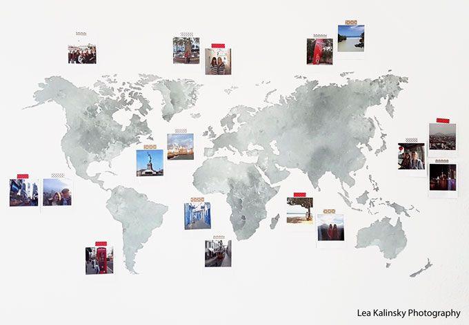 Muursticker Aquarel Wereldkaart (grijs)
