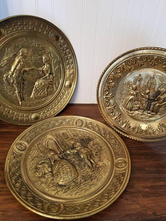Vintage Brass Platter Brass Plate With Images Vintage Brass