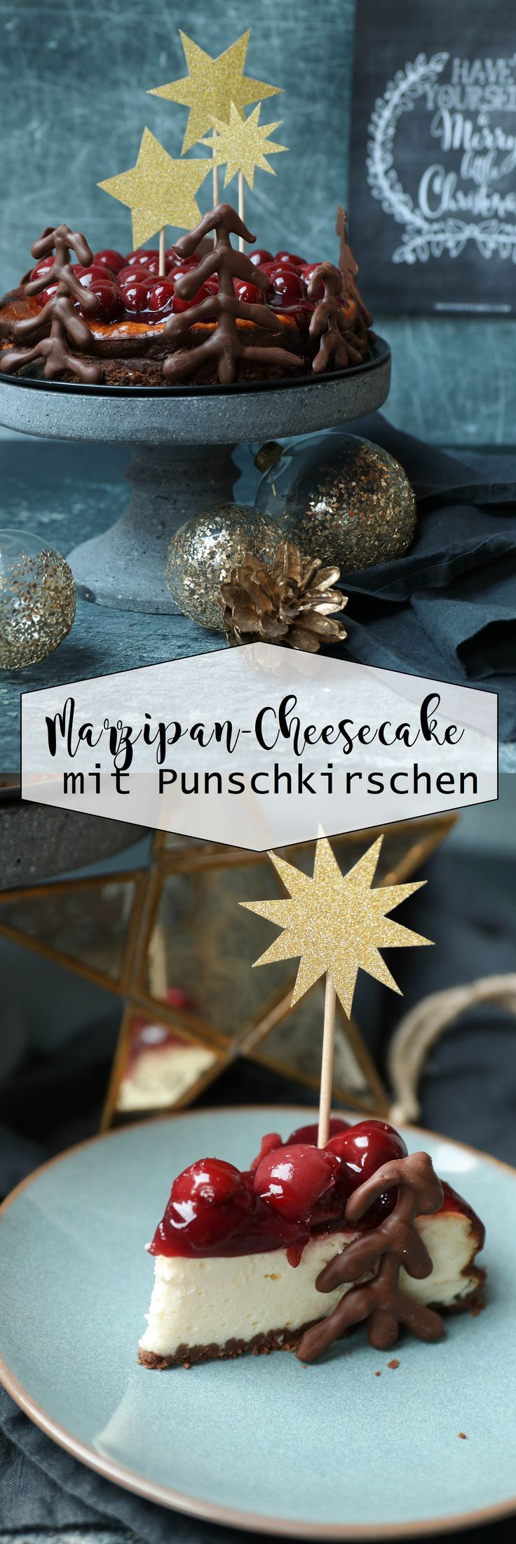 Marzipan Cheesecake mit Punschkirschen