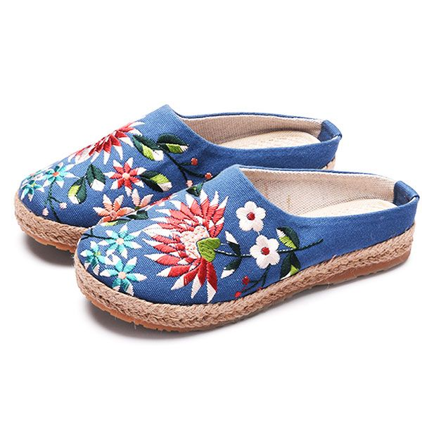 Women Embroidery Flats Flax Casual Floral Slipper