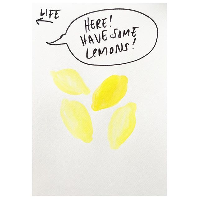 Me:  Thank you Life! . . . #staypositive #creativeprocess #ideas #freshideas #emmaphilipson #statement #lemons #sour #whenlifegivesyoulemons #textbasedart #killyourdarlings #artanddesign  #procrastination #sketchbook #creatives #artandfear #creativeminds #creativeliving #payattention #blankcanvas