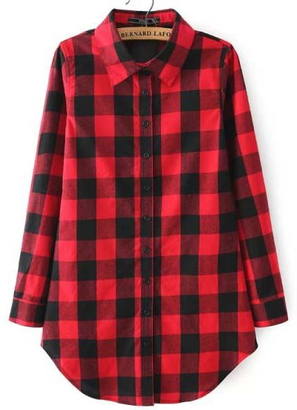 Shop Red Buttons Long Sleeve Plaid Blouse online. Sheinside offers Red Buttons Long Sleeve Plaid Blouse & more to fit your fashionable needs. Free Shipping Worldwide!