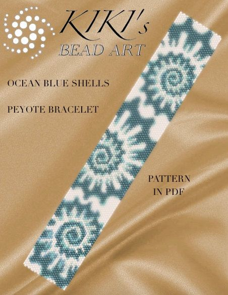 Pattern, peyote bracelet - Shells peyote bracelet cuff pattern in PDF instant download