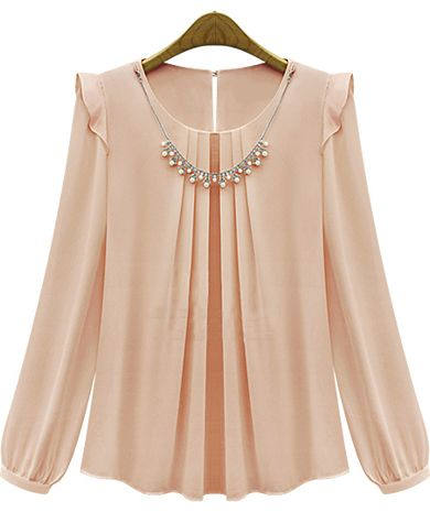 Pink Long Sleeve Rhinestone Loose Chiffon Blouse US$23.26