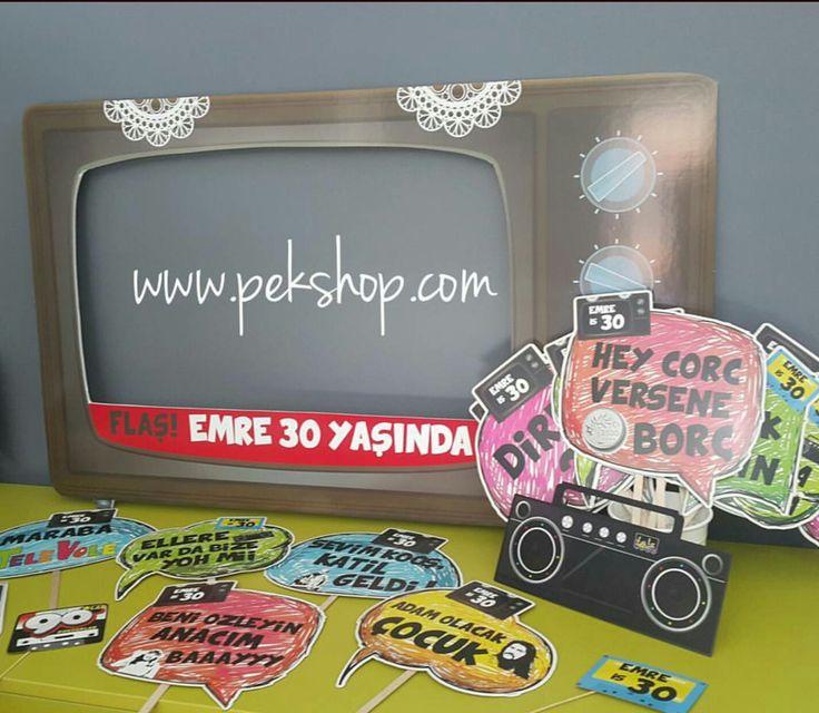 30 Yaş Doğum Günü Partisi 90lar Temalı Çerçeve Konuşma Balonları Parti Süsleri