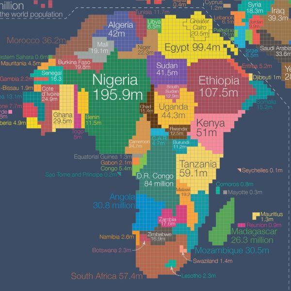 Map De Africa Mapa demográfico del continente de africa | Mapas del mundo, Mapa