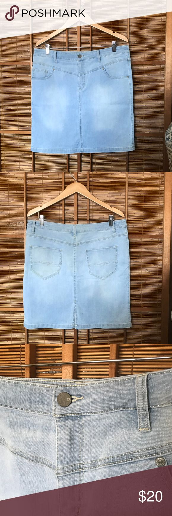 NY & C Soho jeans skirt New York & Company NWT New with tags NY&C denim mini skirt. Light wash. Size 14. Small slit in back. Flat front. Zip up.  In new condition with tags. New York & Company Skirts Mini