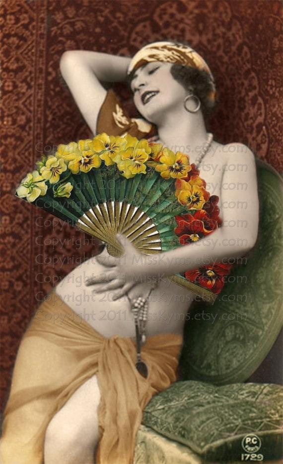 Altered Vintage Image, digital download Flowered Fan