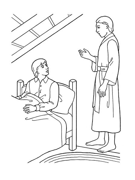 "An illustration of the ninth article of faith—""Revelation"" (the angel Moroni appearing to Joseph Smith)."