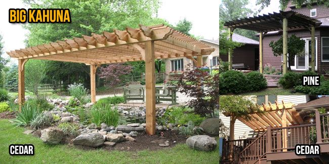 Wood Pergola - big kahuna, can get free-standing or attached kit