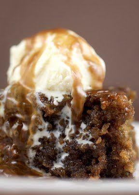 Warm Sticky Toffee Pudding with ice cream = yum #stickytoffeepudding #winterwarmer