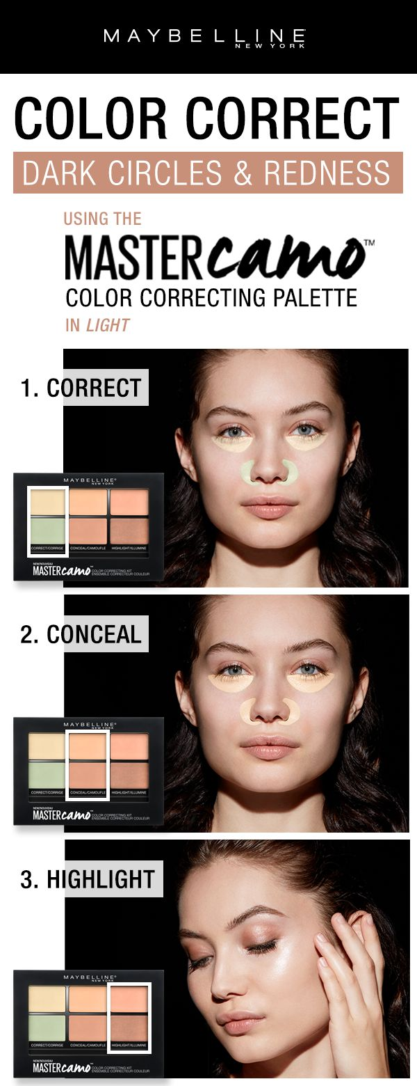 Color correct like a pro with the Maybelline Master Camo Color Correcting Palette.  First, use the correcting shades to color correct dark circles and redness.  Next, use the concealer shades to even out complexion.  Lastly, add the highlighting shades to add glow to the skin.
