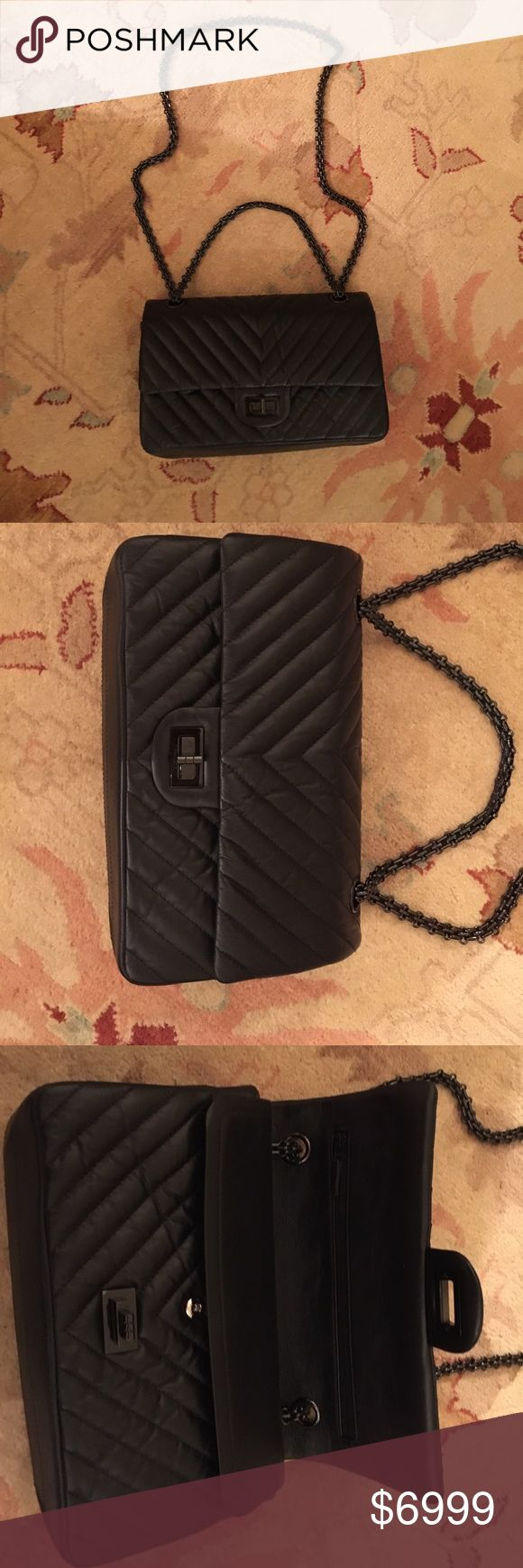 Chanel So Black Chevron reissue 2.55 Flap bag NWT Very Rare New with tags Chanel Authentic So Black 225 Flap bag purchased from Chanel boutique in Saks CHANEL Bags Crossbody Bags