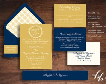 Sample: Golden Leaves Wedding Invitation --- Printed on 100% Recycled paper! --- Mustard Yellow, Navy and Ivory --- Nature, Bohemian, Rustic