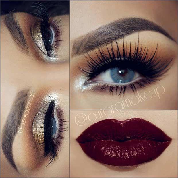 Gold Eyes and Dark Plum Lips Christmas Makeup #5 & #10!