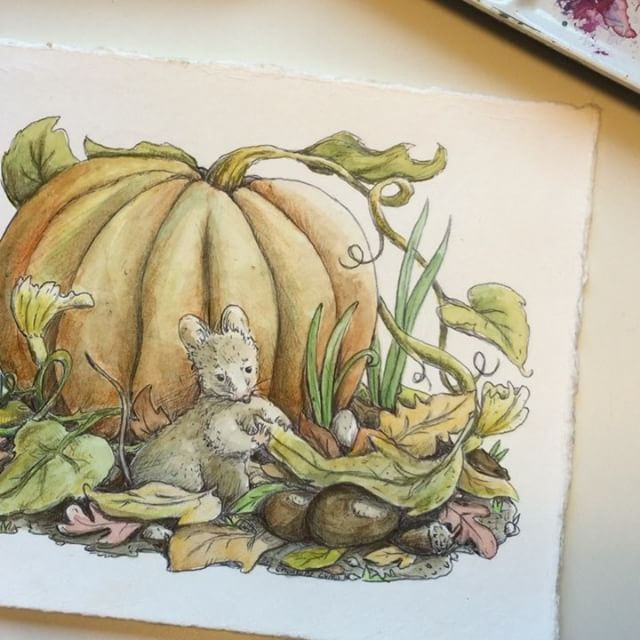 3/3 New video in my Youtube Channel ☺️ https://youtu.be/qkLjvv8s0MA #charlottelyng#wip#illustration#illustratør#drawing#ink#autumn#fall#equinox#fairytale#eventyr#høst#pumpkin#chestnut#leaves#mouse#watercolor#aquarelle#youtube#youtubechannel#timelapse#video#paintingprocess#instavideo
