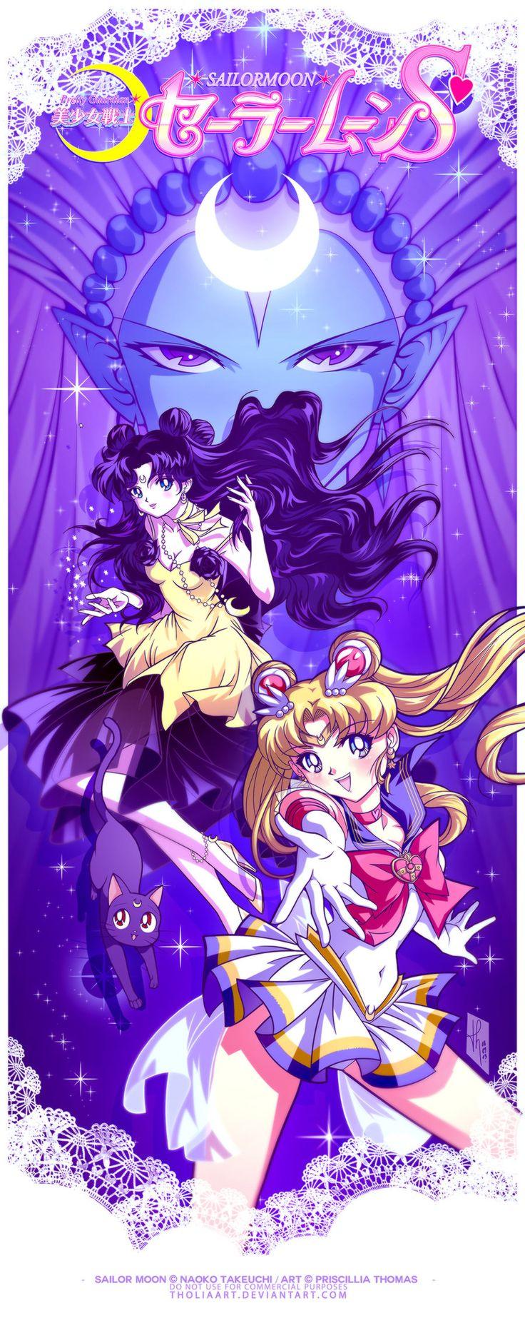 Sailor Moon and Human Luna by TholiaArt.deviantart.com on @deviantART