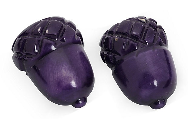 Purple Bakelite Acorn Shoe Clips on OneKingsLane.com
