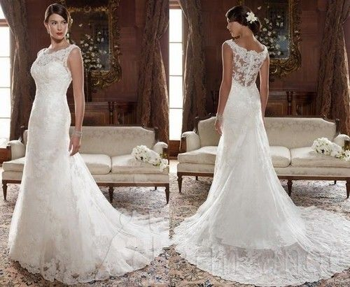 New White Ivory Lace Trumpet Mermaid Wedding Dresses Bride Train Gown All Size   eBay