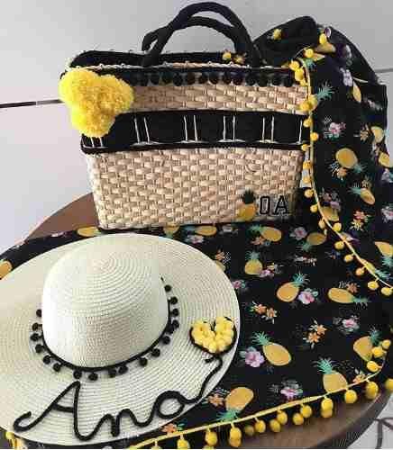 kit chapéu e bolsa de praia personalizado chapéu com nome  b9479d08dc4