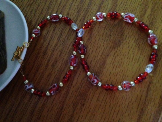 Red Fall Glass Necklace. Pretty