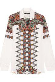 Paisley-print silk crepe de chine shirt