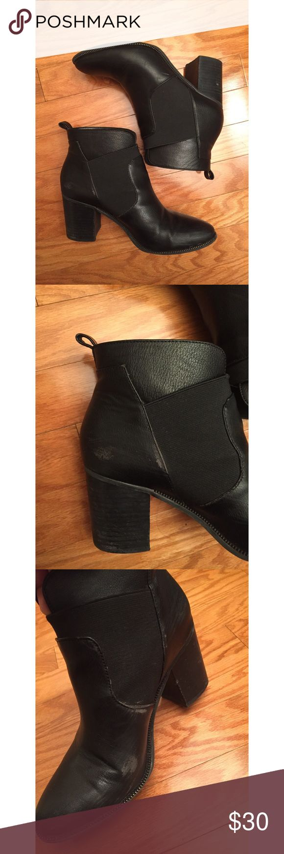 • ck fashion Worn gently with a lot of love left. Goes so well with everything. The go-to bootie. Very comfortable! Minor scuffs on the inside sides of the shoes. pictures shown. $140 Calvin Klein Shoes Ankle Boots & Booties