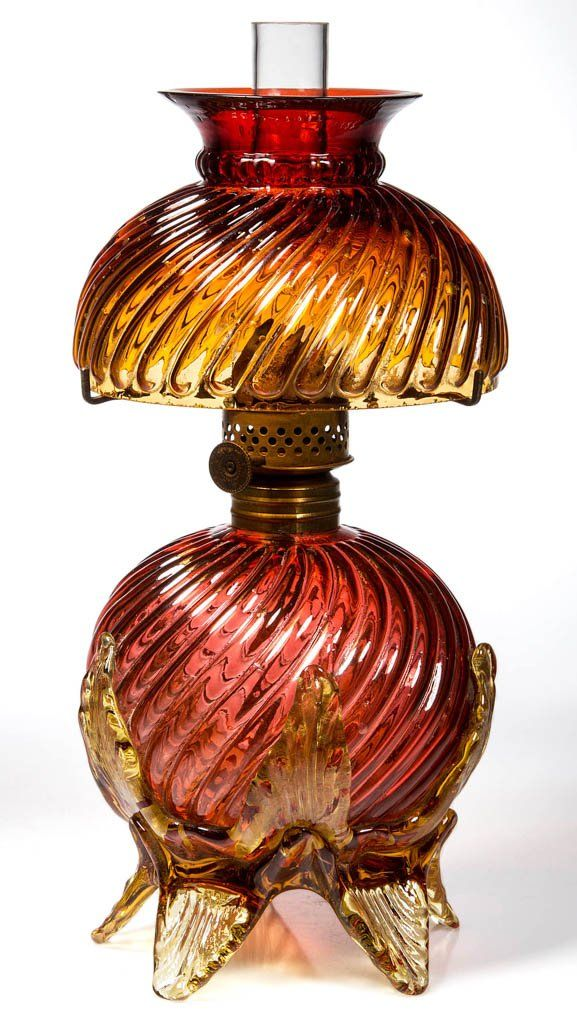 Very rare art glass miniature oil lamp antique kerosene for How to make a chandelier out of a lamp shade