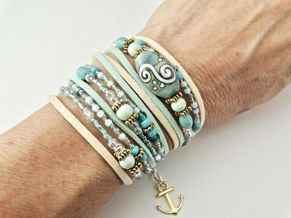 LEATHER WRAP BRACELET. Women's Nautical Bracelet. Beaded