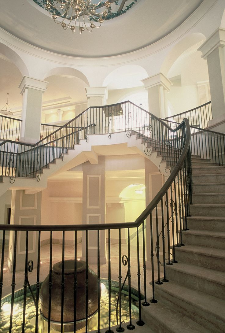 The Grand Staircase that links the main lobby with the lower lobby, at the Elysium – 5 Star hotel in Cyprus