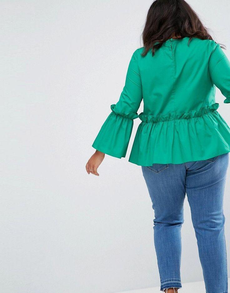 ASOS CURVE Cotton Ruffle Smock Top - Green
