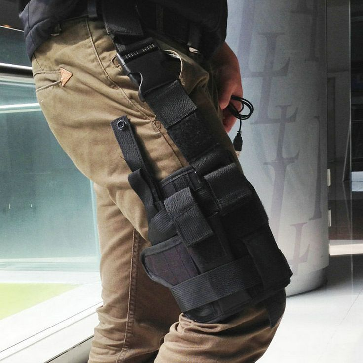 2016 Hot Sell Adjustabl Tactical Drop Leg Thigh Holster w/ Mag Pouch Right Hand lb SL free shipping