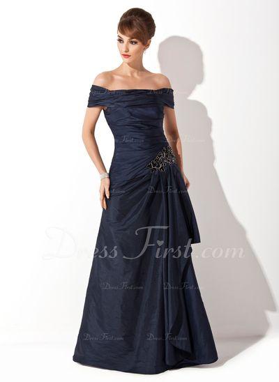 A-linjainen/Prinsessa Off--Shoulder Ylipitkä/Laahus Tafti Morsiamen äiti-mekko jossa Rypytys Applikaatiot Pitsi Paljetit (008021110)