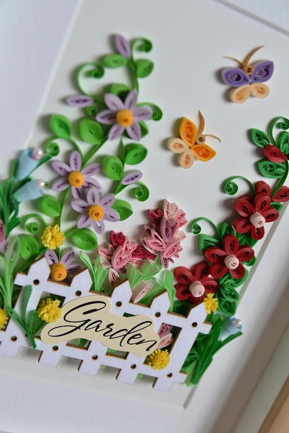 Quilling Wall Art With Flowers And Butterflies Framed Wall Art