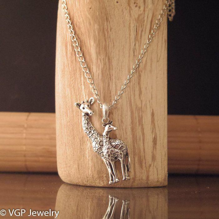 Grote Giraf Ketting: lange zilverkleurige ketting