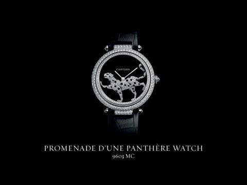 The dazzling Promenade d'une Panthère watch is an astonishing feat of jewelry-making skill and watchmaking prowess. The panther set with diamonds, secretly connected to the caliber, winds the movement in the course of her continuous journey around the face.