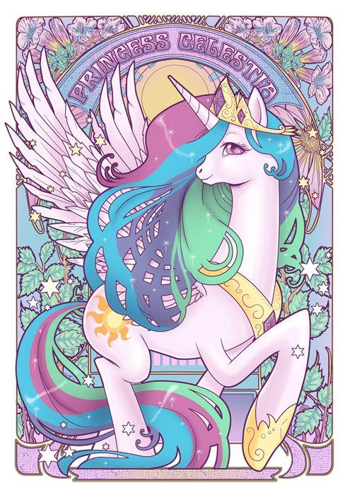 "My Little Pony - Friendship is Magic ""Art Nouveau"" Princess Celestia! By Alphonse Mucha."