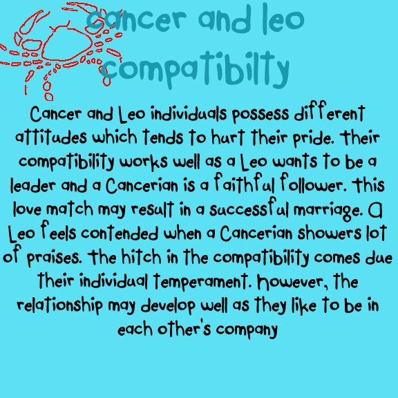 Cancer leo love horoscope